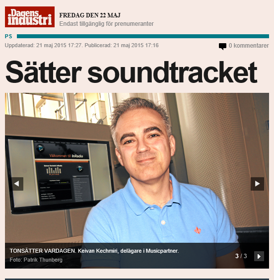 News Image Dagens Industri Artikel MusicPartner (Photo: MusicPartner)